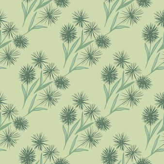 Dandelion ornament pale seamless pattern. stylized flowers and background in pastel green colors. great for wrapping paper, textile, fabric print and wallpaper.  illustration.