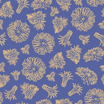 タンポポの紙工場のシームレスなパターンベクトルイラスト