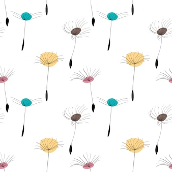 Dandelion seeds seamless pattern