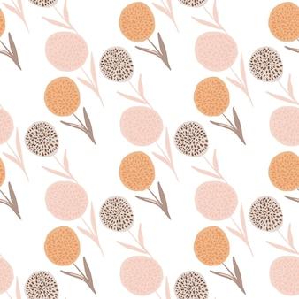 タンポポのシルエットのシームレスなパターン。白地にピンク、オレンジ、紫のパステルトーンで描かれた花を手します。ラッピング、テキスタイル、ファブリックプリント、壁紙用。図