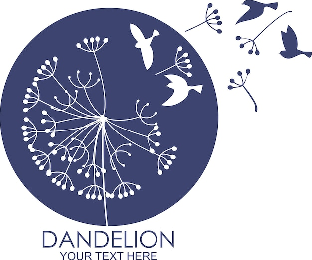 Dandelion with flying bird and seeds vector illustration