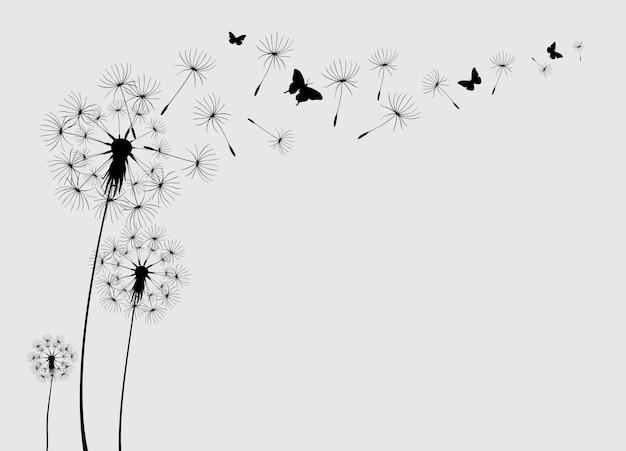 飛んでいる蝶と種子のタンポポベクトルイラストベクトル分離装飾要素