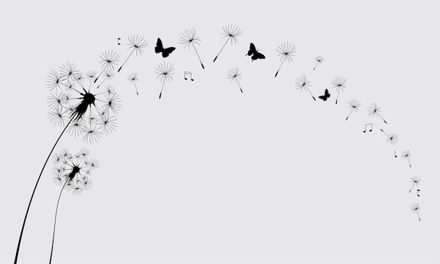 Dandelion with flying butterflies and seeds vector illustration vector isolated decoration element Premium Vector