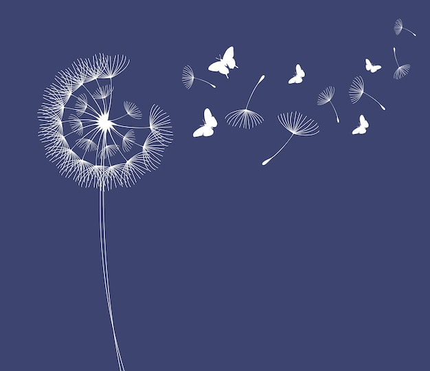 Dandelion with flying butterflies and seeds vector illustration