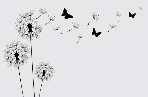 Dandelion with flying butterflies and seeds