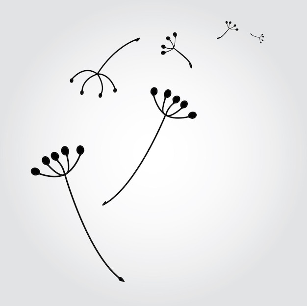 Dandelion with  seeds vector illustration