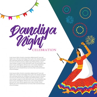 Dandiya night celebration vector illustration
