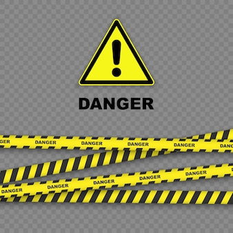 Danger background with black and yellow striped borders