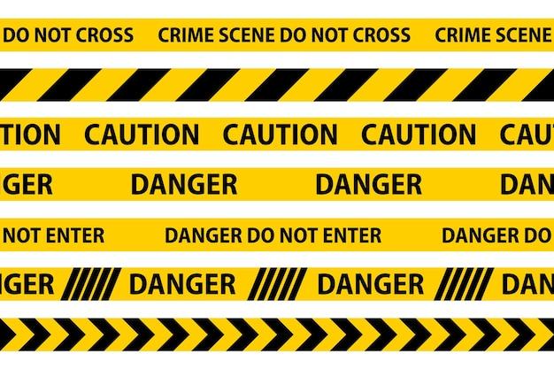위험, 주의 및 경고 원활한 테이프입니다. 검은색과 노란색 경찰 줄무늬 테두리입니다. 범죄 벡터 일러스트 레이 션.
