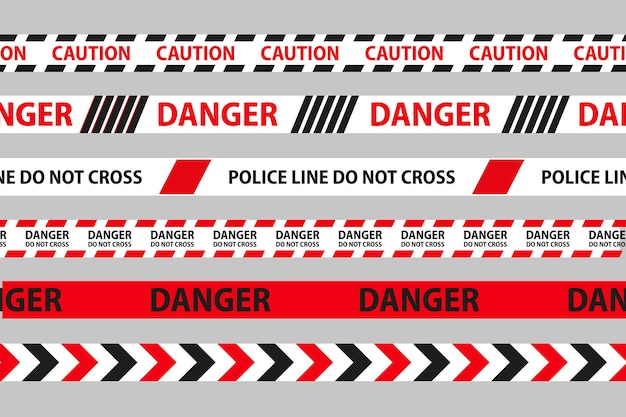 위험, 주의 및 경고 원활한 테이프입니다. 검정< 흰색과 빨간색 경찰 줄무늬 테두리. 범죄 벡터 일러스트 레이 션.