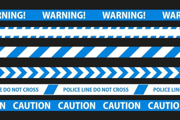 위험, 주의 및 경고 원활한 테이프입니다. 파란색 경찰 줄무늬 테두리입니다. 범죄 벡터 일러스트 레이 션.