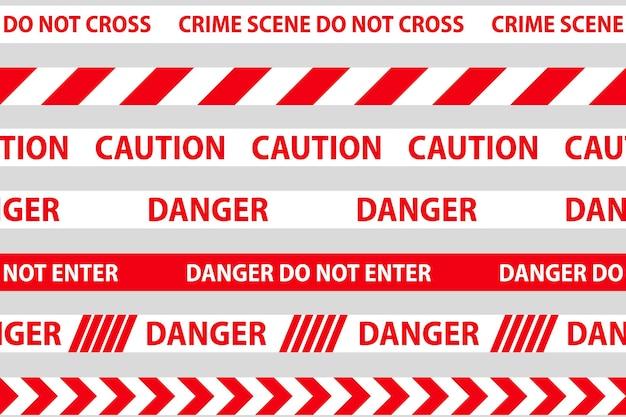위험, 주의 및 경고 원활한 테이프입니다. 빨간색과 흰색 경찰 줄무늬 테두리입니다. 범죄 벡터 일러스트 레이 션.