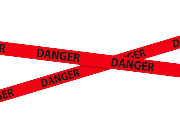 위험, 주의 및 경고 원활한 테이프입니다. 적십자 경찰 줄무늬 테두리입니다. 범죄 벡터 일러스트 레이 션.