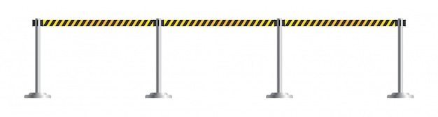 Danger caution retractable belt stanchion. portable ribbon barrier for restriction and dangerous zones. black and yellow police tape or border. airport fence isolated on white background.