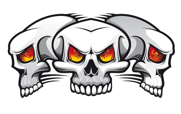 Danger evil skulls as a tattoo isolated on white