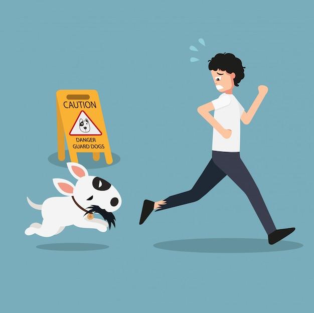 Danger guard dogs caution sign