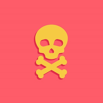 Danger icon with skull and bone vector