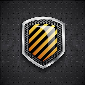 Danger metal shield with black grille