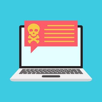Danger notification on laptop