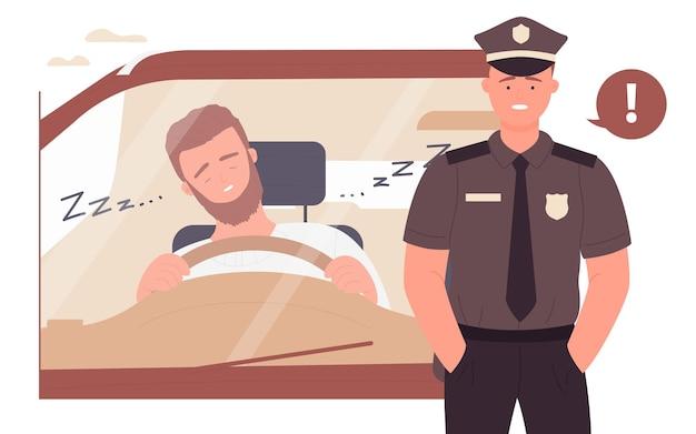 車の運転中に眠る危険性若い眠そうな運転手と警察官
