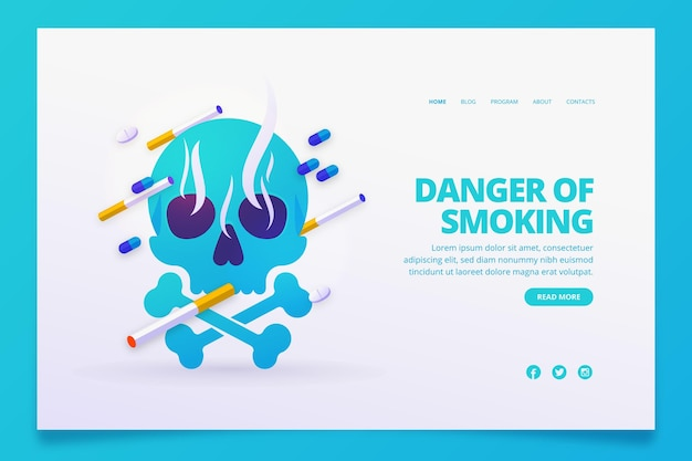 Опасность курения целевой страницы