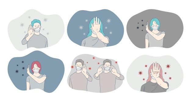 危険またはコロナウイルス感染、保護、顔のマスク、流行、パンデミック、発生の概念
