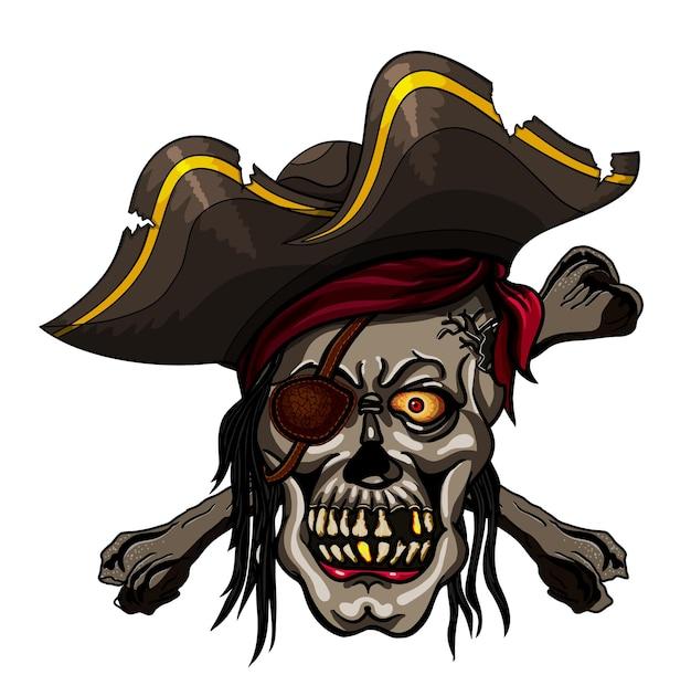 Опасный пиратский череп в бандане и скрещенных костях для татуировки или дизайна футболки