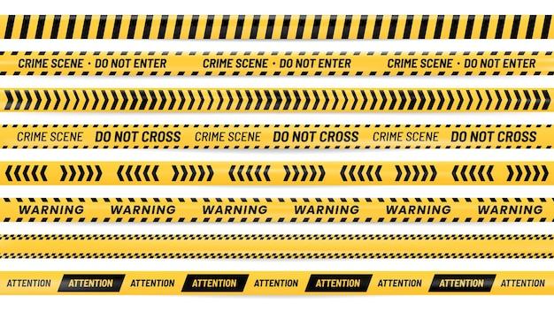 危険リボン。アラートストライプ、警告テープ、ストライプの黄色と黒のリボンのリアルなイラストセット。