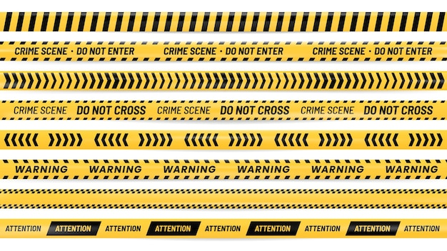 Danger ribbon. alert stripes, warning tape and striped yellow and black ribbons realistic illustration set.