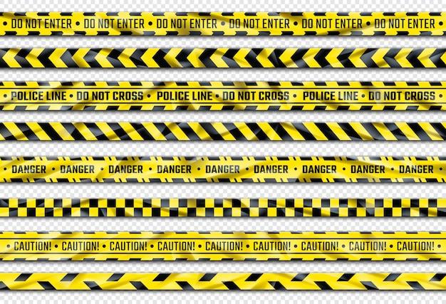 위험 리본. 경찰 범죄 현장이나 건설 지역에 대한 경고 표지판이 있는 노란색 주의 테이프. 벡터 일러스트 레이 션 현실적인 주의 줄무늬 산업 지역 경고