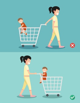 Danger and safety for kid sit in the shopping cart, vector