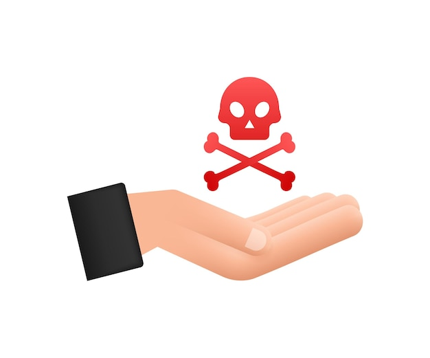 Danger sign in hands on white backdrop. vector illustration.