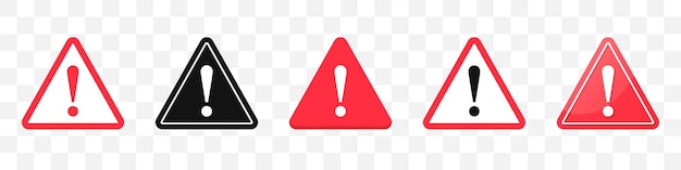 Danger sign icons collection. set of attention sign icons in red. vector illustration
