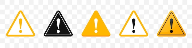 Danger sign icons collection. set of attention sign icons in yellow. vector illustration