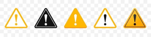 위험 기호 아이콘 모음입니다. 노란색 주의 표시 아이콘 세트입니다. 벡터 일러스트 레이 션