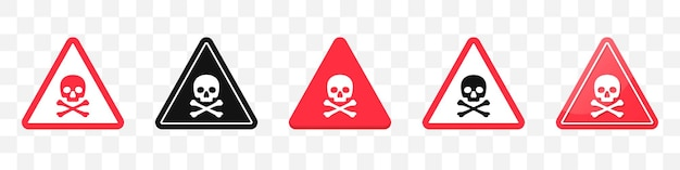 Danger sign with skull and crossbones icons collection. set of attention sign icons in red. vector illustration