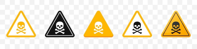Danger sign with skull and crossbones icons collection. set of attention sign icons in yellow. vector illustration