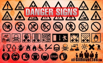 Danger Signs Silhouettes