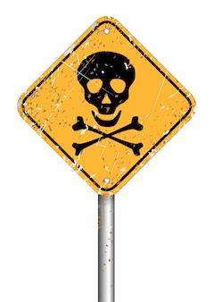 Danger skull pole warning sign symbol, vector grunge style