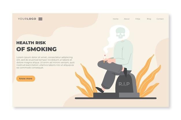 Pericolo di fumare il modello di pagina di destinazione