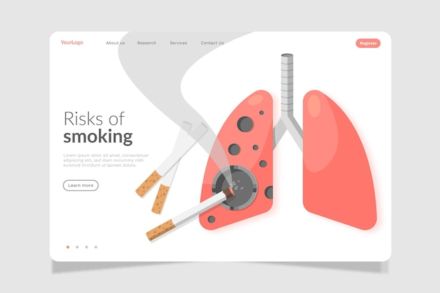 Danger of smoking landing page