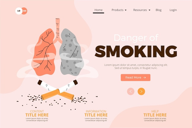 Danger of smoking - landing page