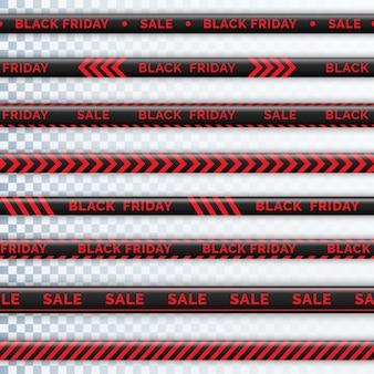危険テープブラックフライデー。警告テープフェンシング。黒と赤の斜めのストライプ。販売碑文とブラックフライデーテープ