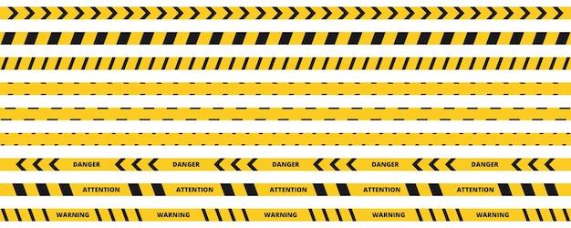 위험 테이프 세트. 노란색과 검은 색 줄무늬 경고