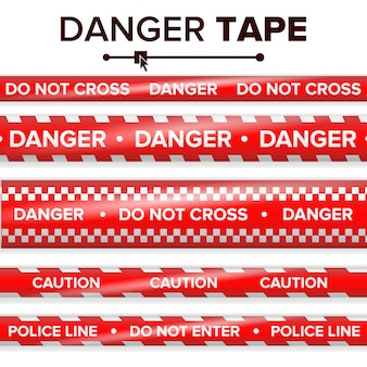 Danger tape vector. red and white. warning tape strips. realistic plastic police danger tapes set