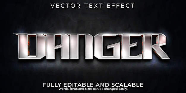 Danger text effect, editable metallic and shiny text style