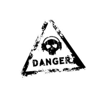 危険ベクトルゴム印テンプレート