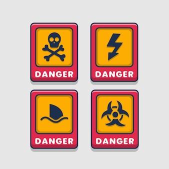 위험 경고주의 표지판 세트