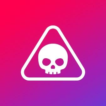 Предупреждающий знак опасности с черепом, вектор