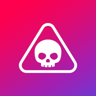 Danger warning sign with a skull, vector